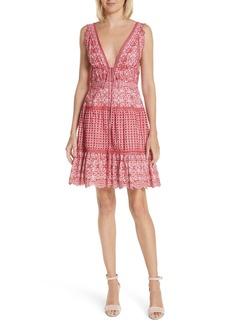 Jonathan Simkhai Stripe Eyelet Embroidered Dress