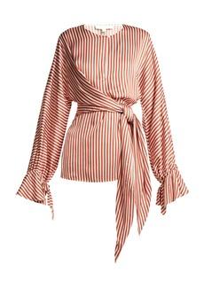 Jonathan Simkhai Stripe twist-front shirt