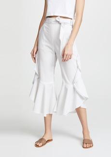 Jonathan Simkhai Striped Cotton Ruffle Pants