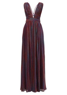 Jonathan Simkhai Striped plunging V-neck pleated-lamé maxi dress