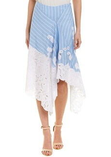 Jonathan Simkhai Striped Silk-Blend A-Line Skirt