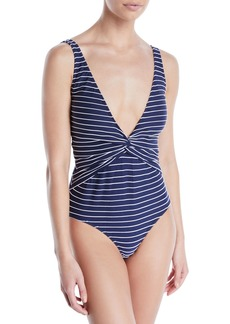 Jonathan Simkhai Striped Twist-Front One-Piece Swimsuit