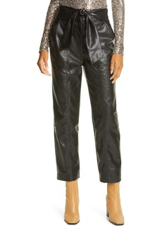 Jonathan Simkhai Tessa Tie Waist Faux Leather Crop Pants