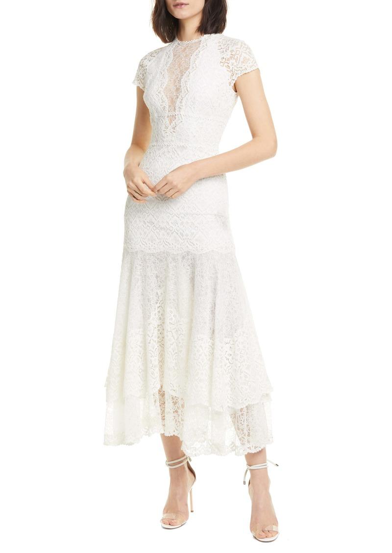 Jonathan Simkhai Tiered Mixed Lace Midi Dress