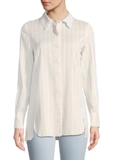 Jonathan Simkhai Tonal-Striped Button-Down Cotton-Silk Shirt w/ Eyelet Lace