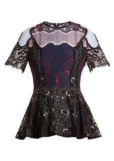 Jonathan Simkhai Tri-colour embroidered lace top