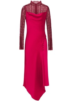 Jonathan Simkhai Woman Asymmetric Chantilly Lace-paneled Satin-crepe Midi Dress Fuchsia