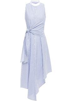 Jonathan Simkhai Woman Asymmetric Knotted Striped Cotton-poplin Dress White