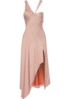 Jonathan Simkhai Woman Asymmetric Twist-front Striped Satin Dress Off-white
