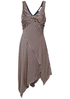 Jonathan Simkhai Woman Asymmetric Twisted Striped Satin Dress Navy