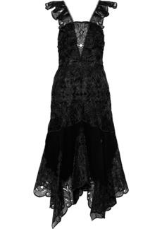 Jonathan Simkhai Woman Broderie Anglaise Organza And Crepe Midi Dress Black