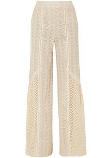 Jonathan Simkhai Woman Crocheted Cotton-blend And Gauze Wide-leg Pants Ecru