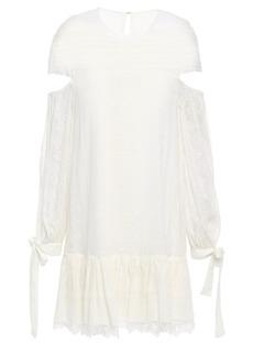 Jonathan Simkhai Woman Cutout Embroidered Crinkled-silk Mini Dress Ivory