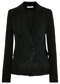 Jonathan Simkhai Woman Double-breasted Lace-appliquéd Crepe Blazer Black