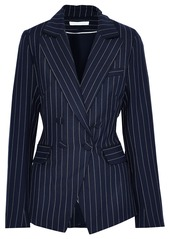Jonathan Simkhai Woman Double-breasted Pinstriped Twill Blazer Midnight Blue