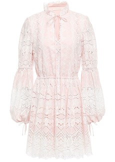 Jonathan Simkhai Woman Gathered Broderie Anglaise Cotton Mini Dress Pastel Pink