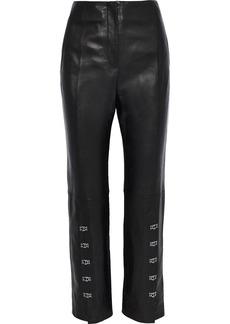 Jonathan Simkhai Woman Hook-detailed Leather Straight-leg Pants Black