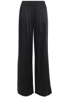 Jonathan Simkhai Woman Lace-trimmed Satin Wide-leg Pants Black