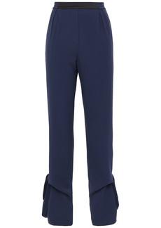Jonathan Simkhai Woman Lace-up Satin-trimmed Crepe Straight-leg Pants Navy