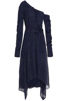 Jonathan Simkhai Woman One-shoulder Twist-front Fil Coupé Georgette Midi Dress Midnight Blue