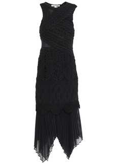 Jonathan Simkhai Woman Paneled Crocheted Cotton And Georgette Midi Dress Black