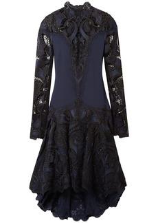 Jonathan Simkhai Woman Paneled Embroidered Giupure Lace And Cady Dress Navy