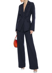 Jonathan Simkhai Woman Pinstriped Twill Wide-leg Pants Midnight Blue