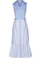 Jonathan Simkhai Woman Pleated Paneled Cotton Oxford And Striped Cotton Midi Dress Sky Blue
