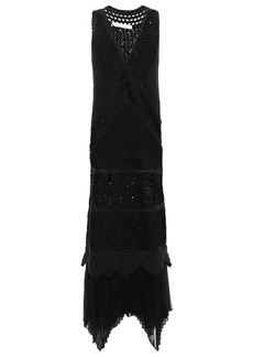 Jonathan Simkhai Woman Plissé Chiffon-trimmed Crocheted Cotton Maxi Dress Black