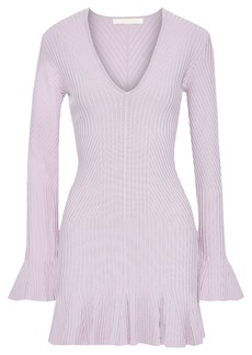 Jonathan Simkhai Woman Fluted Stretch-knit Mini Dress Lilac