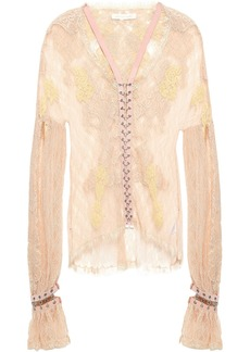 Jonathan Simkhai Woman Ring-embellished Faux Suede-trimmed Corded Lace Blouse Peach