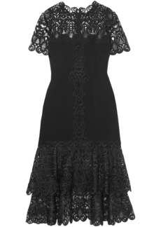 Jonathan Simkhai Woman Tiered Macramé Lace-paneled  Cady Midi Dress Black