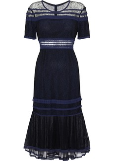 Jonathan Simkhai Woman Crochet-trimmed Corded Lace And Tulle Dress Midnight Blue