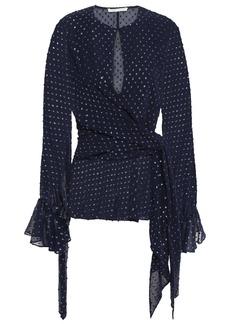 Jonathan Simkhai Woman Wrap-effect Fil Coupé Georgette Blouse Midnight Blue
