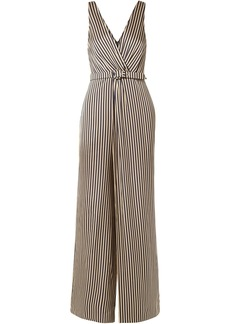 Jonathan Simkhai Woman Wrap-effect Striped Sateen Jumpsuit Midnight Blue