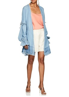 Jonathan Simkhai Women's Frayed Chambray Wrap Top