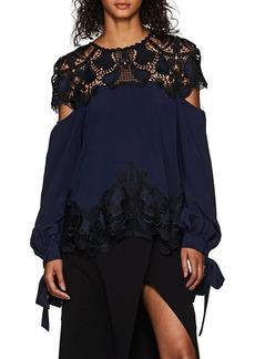 Jonathan Simkhai Women's Lace-Inset Silk Blouse