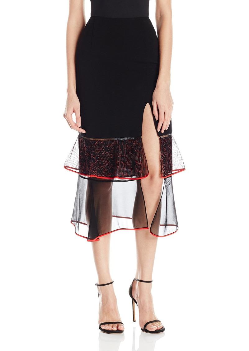 Jonathan Simkhai Women's Lace Ruffle Slit Skirt