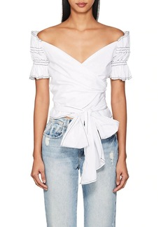 Jonathan Simkhai Women's Off-The-Shoulder Cotton Wrap Top
