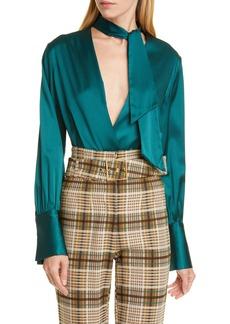 Jonathan Simkhai Wrap Front Silk Charmeuse Bodysuit
