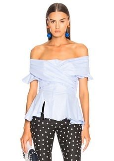JONATHAN SIMKHAI Wrapped Oxford Off Shoulder Peplum Top