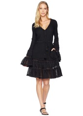 Jonathan Simkhai Knit Combo V-Neck Tiered & Tasseled Dress Cover-Up