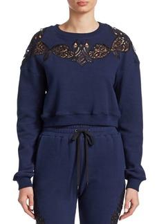 Jonathan Simkhai Lace Embroidery Crop Sweatshirt