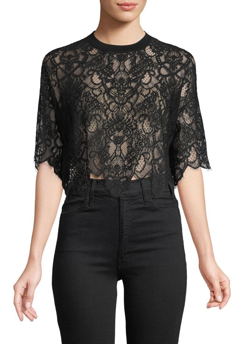ce234615 Jonathan Simkhai Lace Combo Crop T-Shirt Top | Casual Shirts