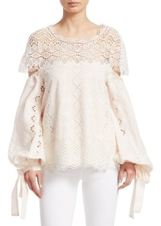 Jonathan Simkhai Lace Cotton Bell Sleeve Top