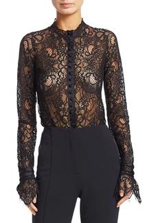 Jonathan Simkhai Lace Flare-Cuff Bodysuit