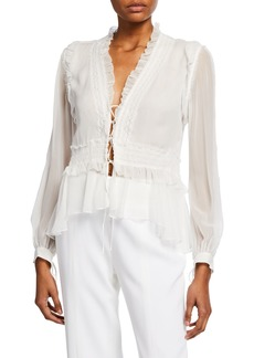 Jonathan Simkhai Lace-Front Mixed Trim Silk Blouse