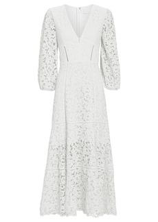 Jonathan Simkhai Lace Puff Sleeve Midi Dress