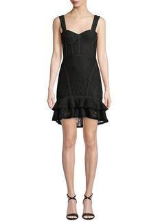 Jonathan Simkhai Lace Ruffle-Hem Bustier Dress