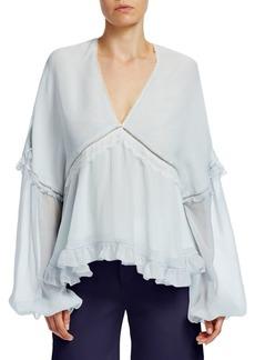 Jonathan Simkhai Lace Ruffle Silk Blouse